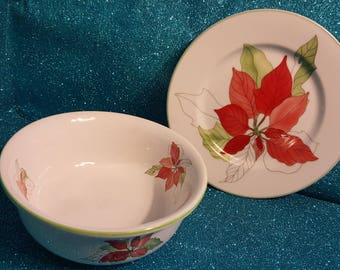 Poinsettia Set By Block Spal Circa 1982