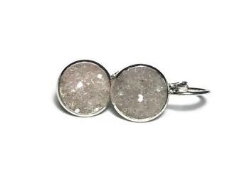 ice druzy, white druzy, lever back earrings, geode earrings, hypoallergenic, crystal earrings, under 10 dollars, drop earrings, drusy,