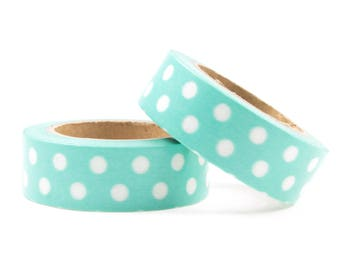 Washi tape mint with white dots