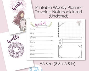 "A5 Size Weekly TN Insert: ""LittleBoho"" Vertical Week on 2 Page  Printable Insert for Travelers Notebooks"