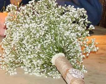 Hnadmade Wedding Bouquet,.Hessian Jewels.Cork. Lace Effect