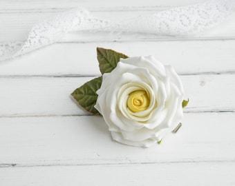 bridal alligator clip wedding flower hair clip realistic rose for hair realistic flower headpiece realistic flower