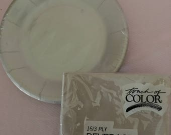 Touch of Color gray paper napkins and plates/silver anniversary paper beverage napkins and luncheon plates/Free shipping