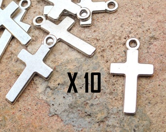 10 charms Christian cross religious metal silver