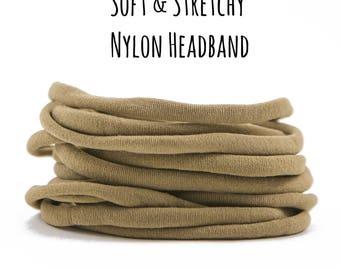 TAN nylon Headband, Wholesale baby headband, Nylon elastic headband, Wholesale Spandex headband, Skinny stretchy nylon headband