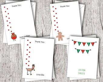 Personalised Christmas THANK YOU Cards inc. envelopes - Flat Style
