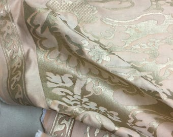 "FORTUNY ""Sévigné"" Fabric in melon and silvery gold (9.9 yard piece)"