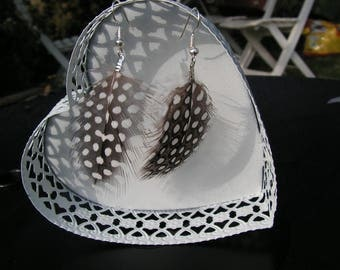 """""""As a feather"""" earrings Brown and white"""