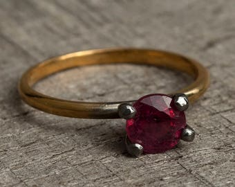 Ruby Ring - Silver Ruby Ring - Delicate ruby ring - Wedding ring ruby - Simple ruby ring - Small ruby ring - July Birthstone Ring - Gift