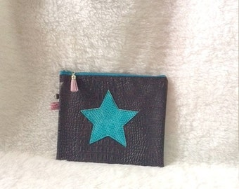 Pouch bag Faux Croc leather chocolate brown and turquoise