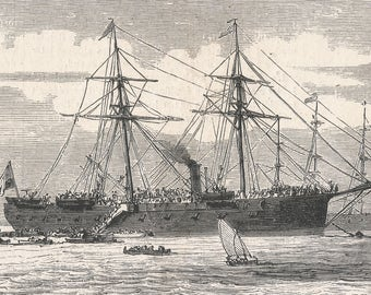 Alexandria - Boarding of a column of volunteers on board Prince Caringan to Italy, Egypt 1866 - Old Antique Vintage Engraving Art Print
