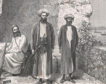 Somalia 1889, Travelers in Road Gear, Old Antique Vintage Engraving Art Print, Man, Costume, Blade, Sword, Rifle, Turban, Parapet, Luggage