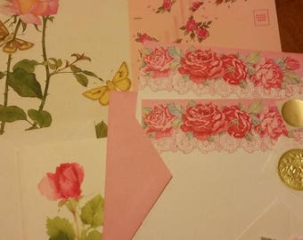 Vintage Stationery Collection ~ Mini Blooming Pink Roses Collection