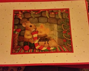 Vintage Greeting Card - Christmas Greeting Card - Hallmark - Mouse Knitting by Fireplace