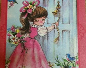 Vintage Greeting Card - Vintage Birthday Card * Little Girl With FLowers  Ringing Doorbell