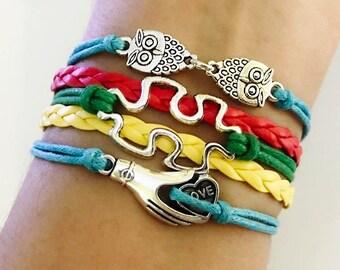 Autism bracelet, Autism Awareness jewelry, Autism Puzzle Piece Bracelet, Autism Jewelry, I love someone with autism, twin Owls bracelet