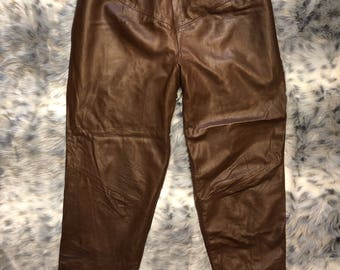 FREE SHIPPING Vintage 1980 - 1990 real Leather Pants