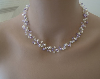 Necklace Original ivory/purple clear/purple/violet/lilac/Lavender p dress of bride/wedding/party/ceremony/cocktail, pearls
