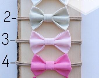 Bow Colors, Baby bows, Small Bows, Baby Bow Set, Nylon Headbands, Baby Bow Headband, Baby Girl Gift, Newborn Headband, Newborn Bow