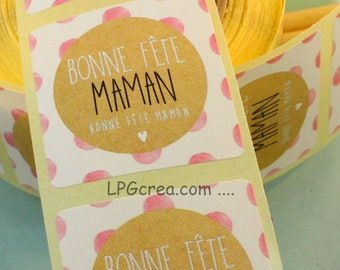 "20 labels gift stickers - ""Happy mother's day"" # EMB50"