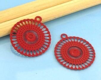 2 prints stylized pendants - Diam: 18mm - Metal red # T47