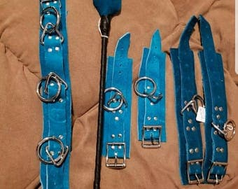 Genuine leather suede turquoise jade slave sub submissive bdsm collar, wrist cuffs ankle cuffs and whip set