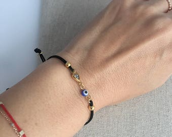 Heart Evil Eye CZ Black Cord String Adjustable Bracelet for Good luck Protection Bracelet