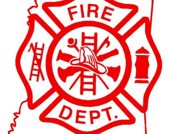 5.5 IN Mississippi State Firefighter Maltese Cross - in Red, Pink, or White