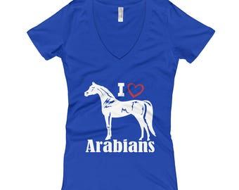 I Love Arabians Womens V-Neck T-shirt