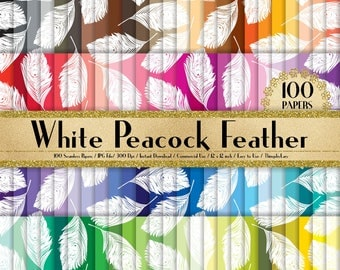 100 Seamless Peacock Feather Digital Papers,peacock digital paper,Instant download peacock paper,100 feather papers,digital peacock feather
