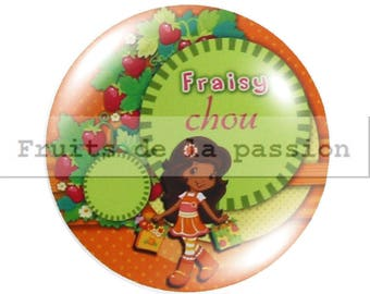 1 cabochon 25mm, miss, strawberry, orange round glass