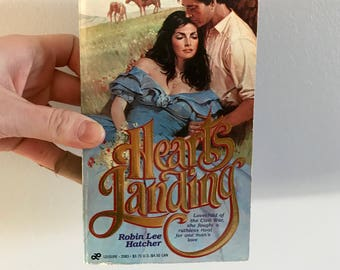 1984 vintage copy of Hearts Landing // romance novel // vintage book // Valentine's Day // galentines day