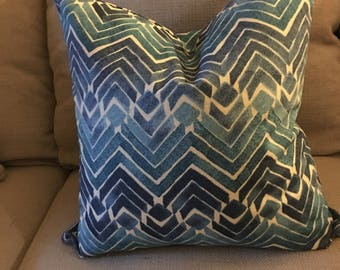 """This """"several shades of blue"""" throw pillow brings a fun and colorful addition to any sitting area.  20 x 20."""