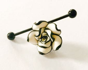 Black and white rose floral charm on stainless steel 14g industrial body jewelry