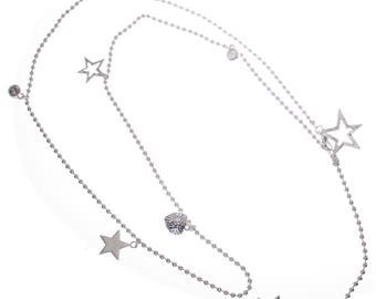 Long Delicate  Charm Necklace with Stars and Hearts