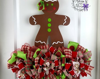Gingerbread Girl Hand Painted Wooden Door Hanger with Deco Mesh and Bows, Gingerbread Girl Decor, Gingerbread DoorDecor, Gingerbread Party
