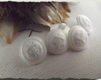 """6 white anchor buttons * 14 mm 0.55 """"1.4 cm foot"""