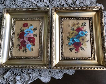 Vintage gilded framed, floral pictures, set  of two
