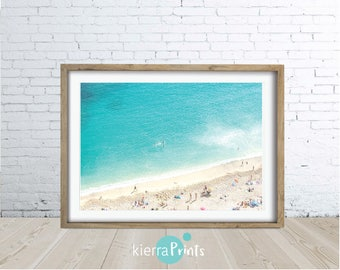 Beach Art, Ocean Art Print, Waves, Water, Coastal Wall Decor, Large Poster, Digital Download, Modern, Turquoise Blue