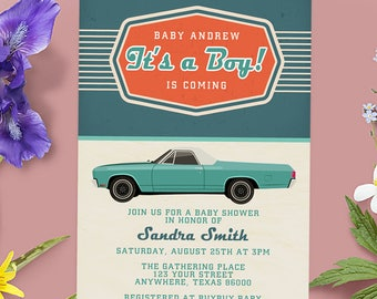 Vintage Race Car Baby Shower, Race Car Thank You, Vintage Baby Shower, Car Baby Shower, Race Car Baby, Car Baby Shower Invitation,
