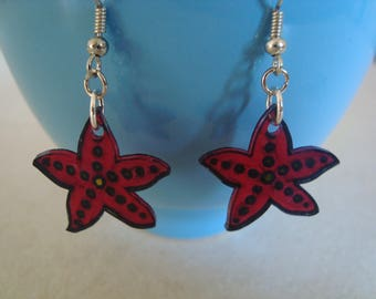 Fancy crazy plastic Red Star earrings