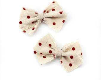 Mini Red Velvet Dot Bow