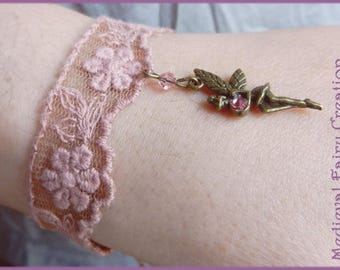 Pink lace bracelet 'Fairies dance'