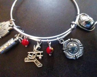 Fireman - Fire Department- Adjustable Bangle Charm Bracelet Silver