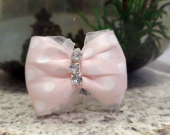 Dog Hair Bow Accessories Bowtie Lace Princess Pretty Pastel Pink and White Dots Show Bows