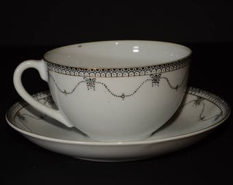OKWAN CHINA, Hand Painted, Made in Japan, Black and white, Teacup and saucer Set, Black Decoration, Gold ring and rim, Vintage, 135
