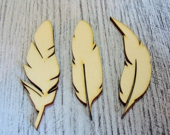 Set of 3 feathers 1311 embellishment wooden creations