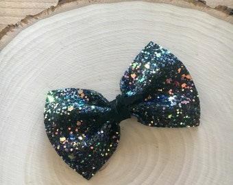 Black Iridescent Glitter Bow