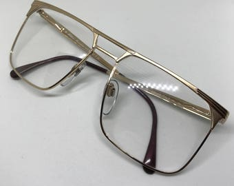 Hilton Monsieur 008 / Vintage Eyeglasses / NOS Unworn / 24kt Gold / Made In Italy