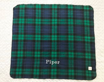 Large plaid receiving blanket personalized; blue green tartan plaid swaddle blanket; plaid flannel baby blanket; baby stocking stuffer